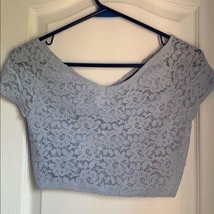 ✨3 FOR $25✨ TOPSHOP Blue Lace Crop Top